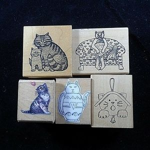 Rubber Stamps Lot of 5 Cat Kitty Pet Feline